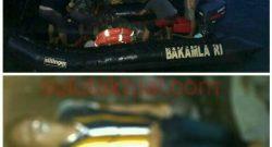 Proses evakuasi korban oleh KN Singa Laut 4802.(Atas). Korban tewas tenggelam, Didi Ngala (45) asal Desa Woloan, Tomohon.(Bawah).