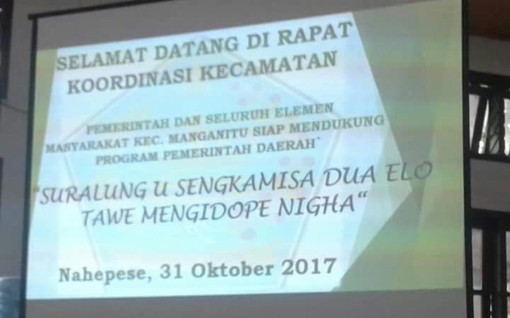 Dukungan pemerintah dan masyarakat kecamatan Manganitu terhadap program pemerintah daerah dua hari tanpa nasi.