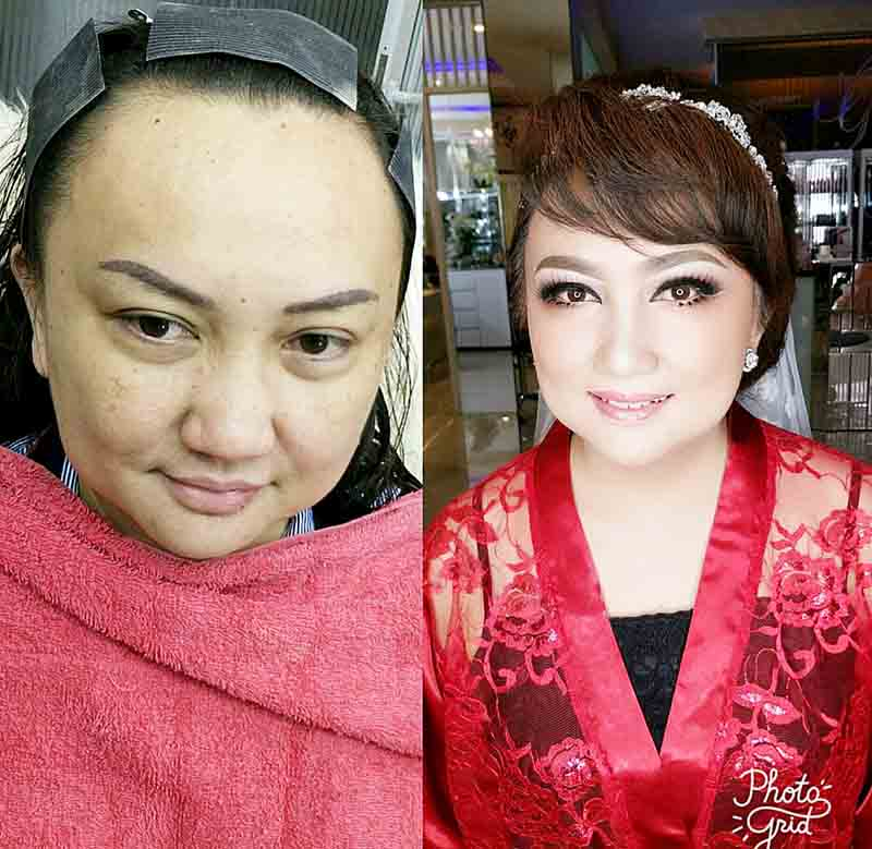 Before-After make up dari Komisaris Bank SulutGo Peggy Pangemanan-Mekel, yang dirias langsung oleh Mr Goen.