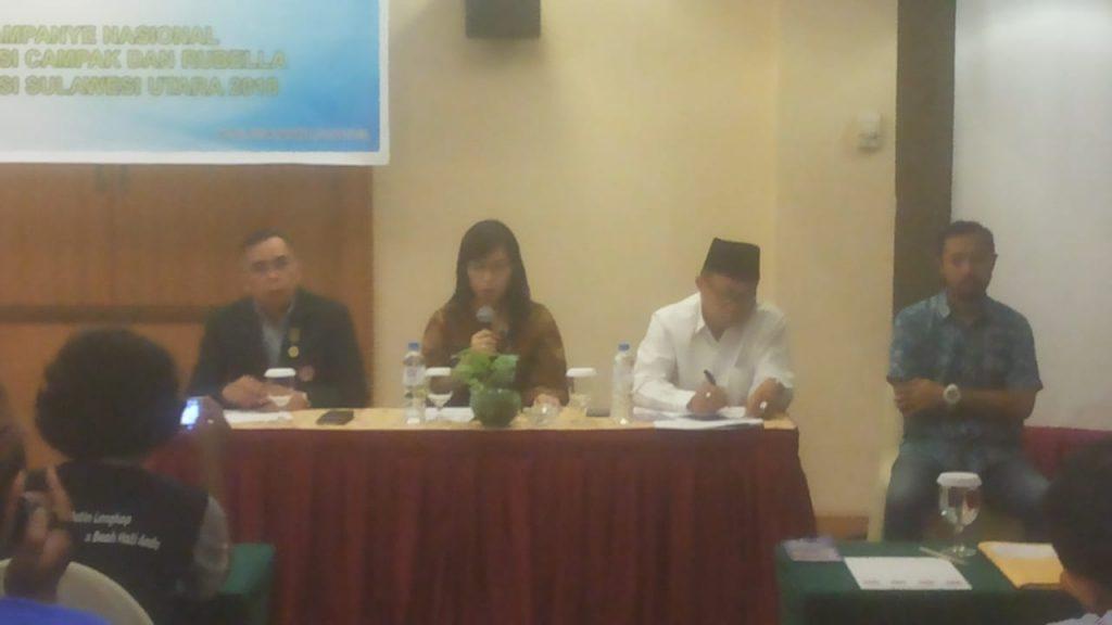dr Rima Lolong MKes membawakan sambutan saat temu media yang diprakarsai UNICEF (United Nations Children's Fund) Indonesia.