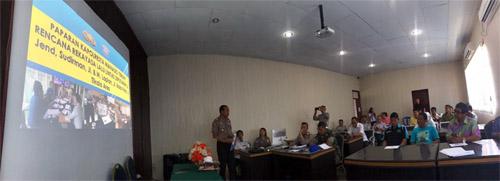Suasana Rapat Pemaparan Perubahan Jalur yang dipaparkan langsung oleh Kapolresta Manado Kombes Pol FX Surya Kumara.