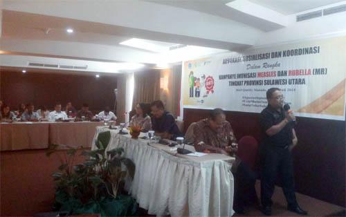 Dinas Kesehatan Kabupaten/Kota bergiliran memaparkan strategi Kampanye MR di wilayahnya masing-masing.