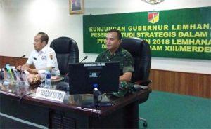 Gubernur Lemhannas RI Letjen TNI (Purn) Agus Widjojo (kiri) dan Pangdam XIII/Merdeka Mayjen TNI Tiopan Aritonang memimpin pertemuan di Makodam XIII/Merdeka di Manado.